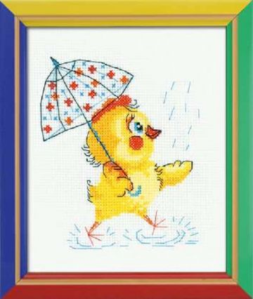 Riolis Cross Stitch Kit. SPLASH, SPLASH. Suitable for kids or beginners.